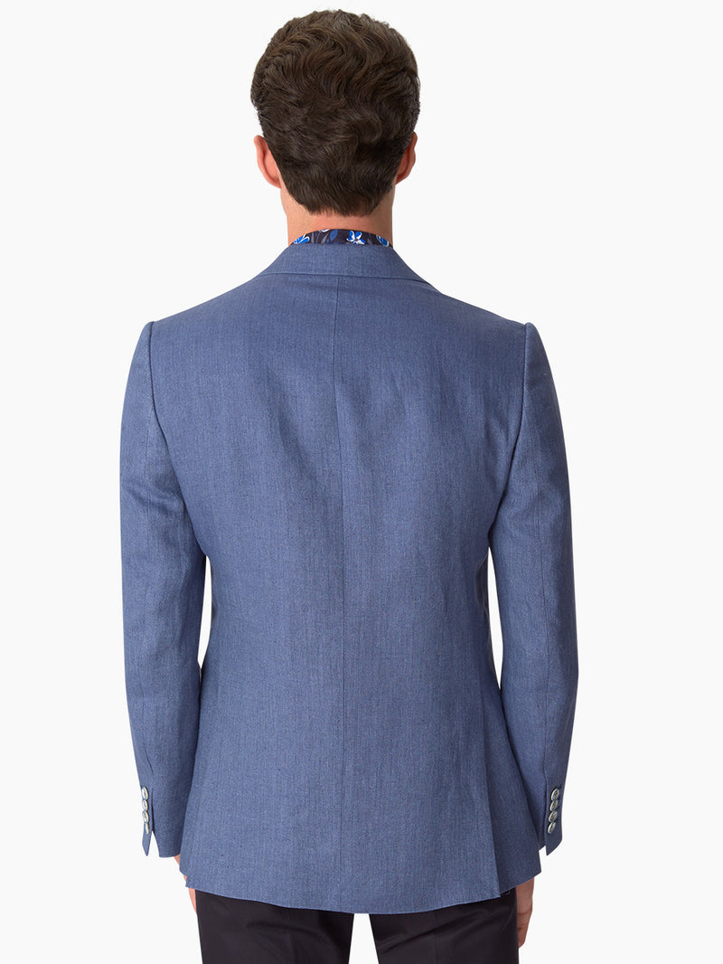 Notch Plain Herringbone Jacket Blue