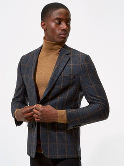 Notch Windowpane Check Jacket Grey