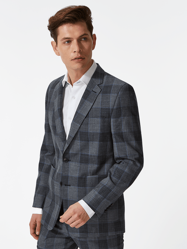Notch Lapel Overcheck Blazer Grey