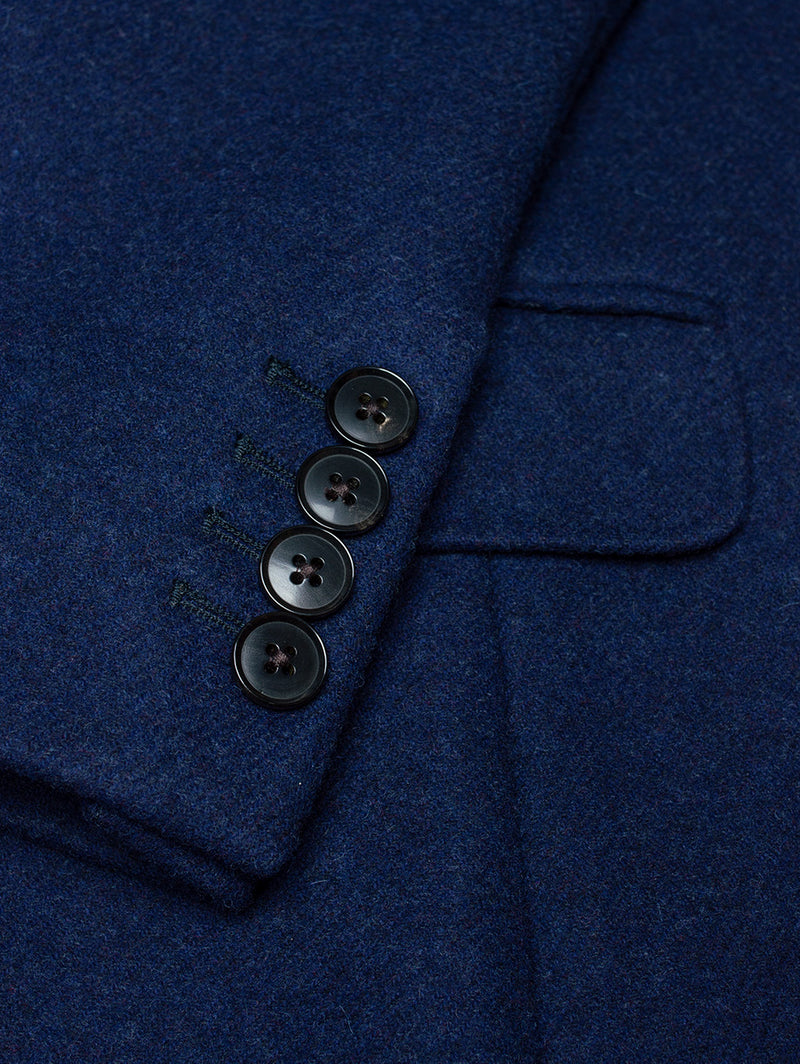 Notch Plain Milled Wool Coat Blue