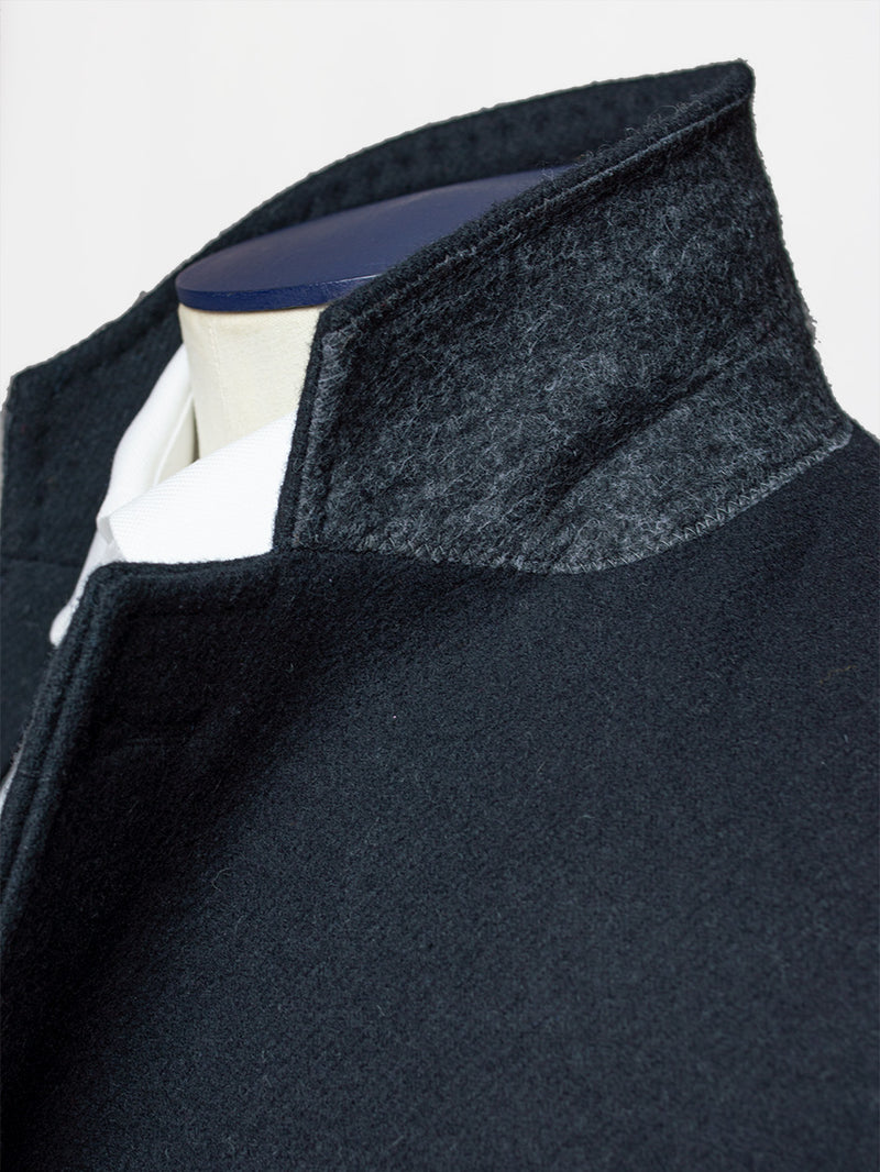 Plain Milled Wool Coat Black