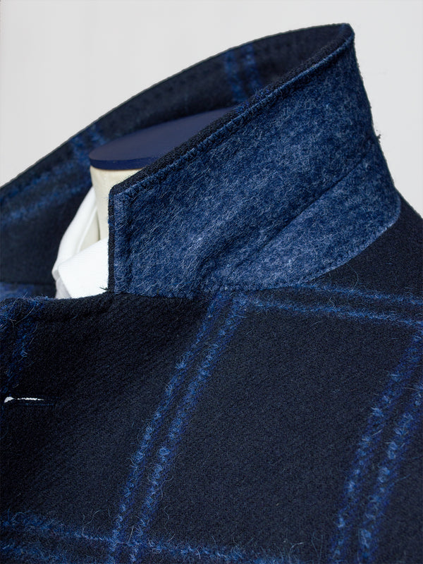 Notch Grandi Milled Check Coat Blue