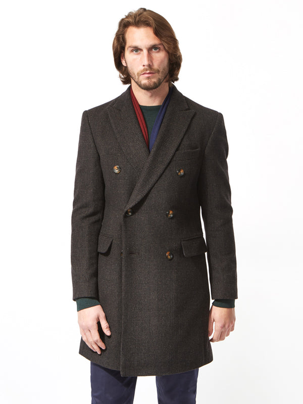 Peak Cashmere Check Coat Grey