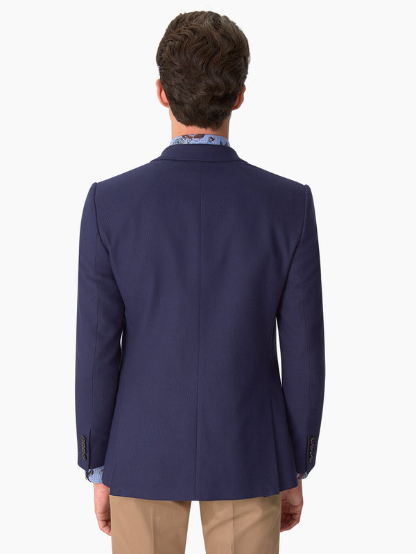 Peak Lapel Sable Textured Jacket Navy