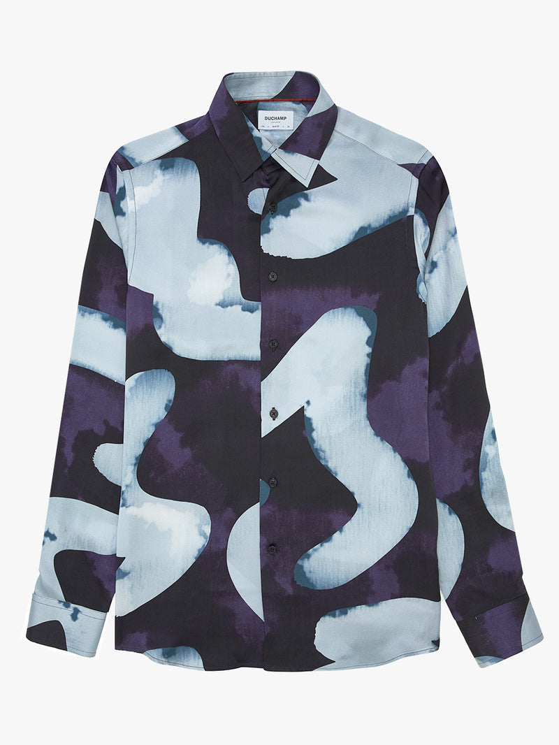 Patch-Print-Silk-Shirt-Blue