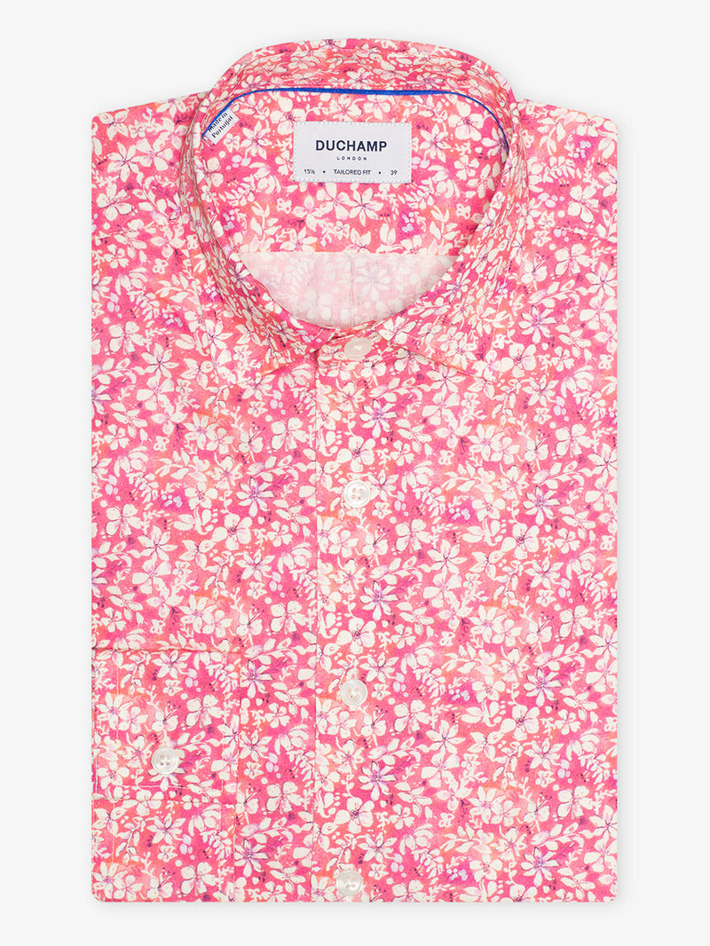 Two Colour Floral Print Shirt Pink