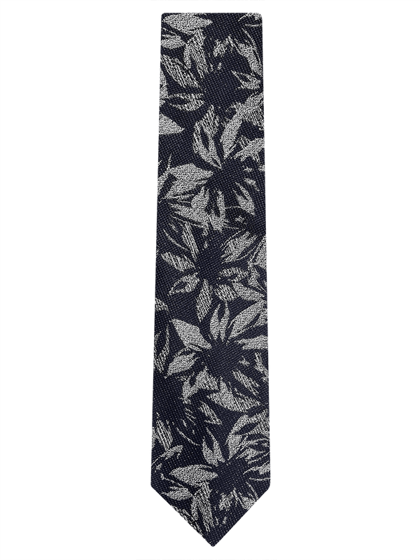 Abstract Floral Tie Navy/White