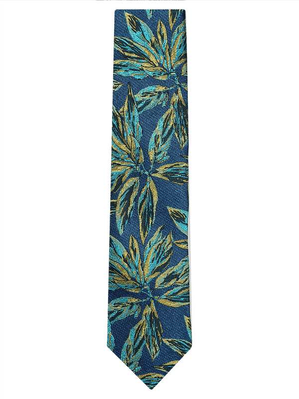 Painted Floral Tie Turquoise