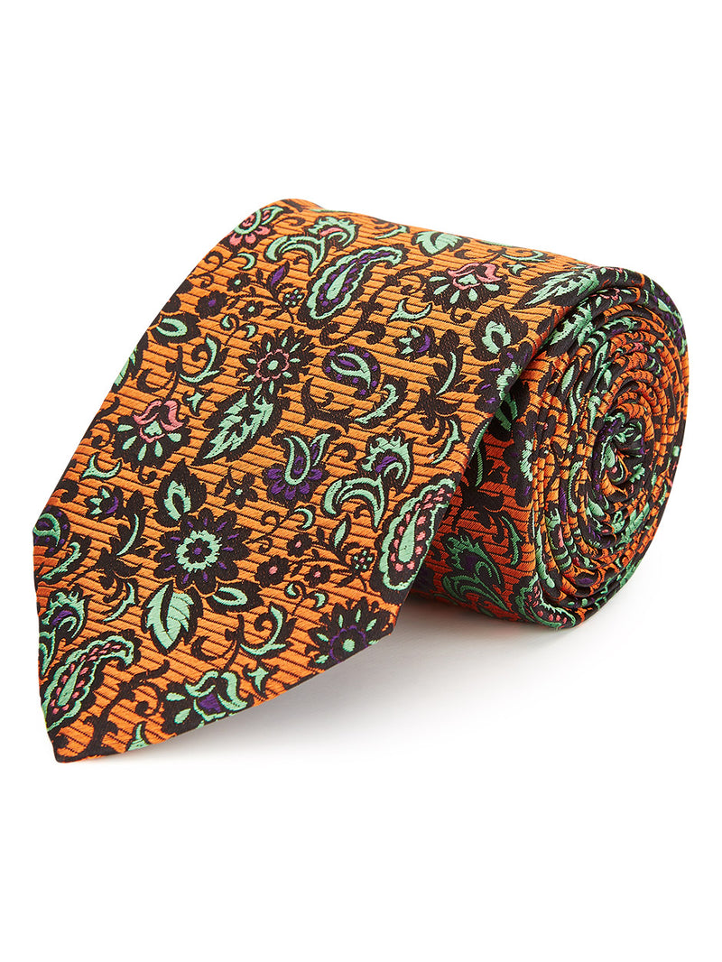 Dragonfly Paisley Tie Orange.