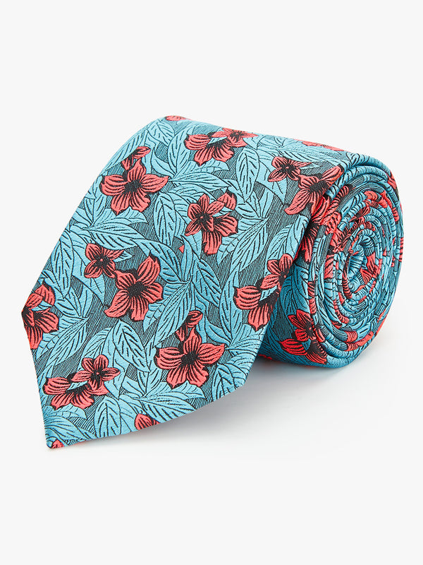 Neon Floral Tie Turquoise.