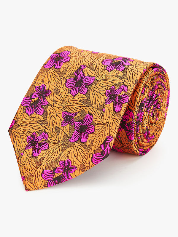 Neon Floral Tie Yellow.