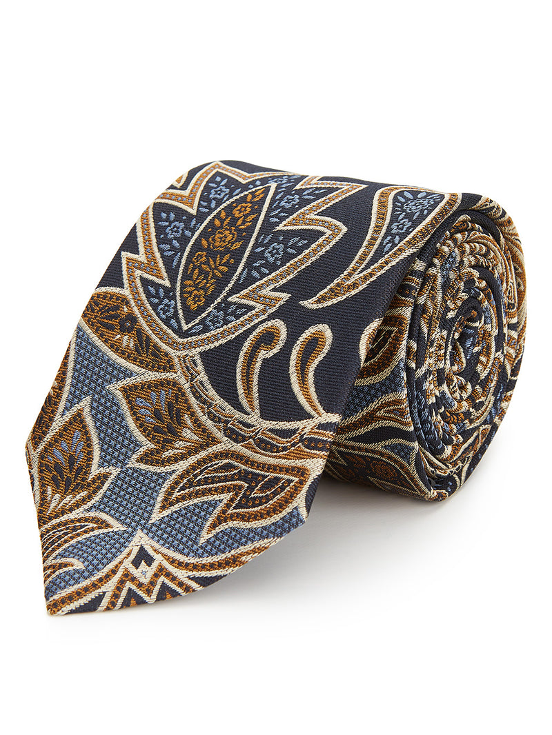 Symmetric Paisley Tie Brown.