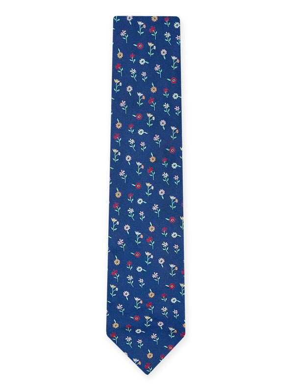 Blooming Flowers Tie Navy