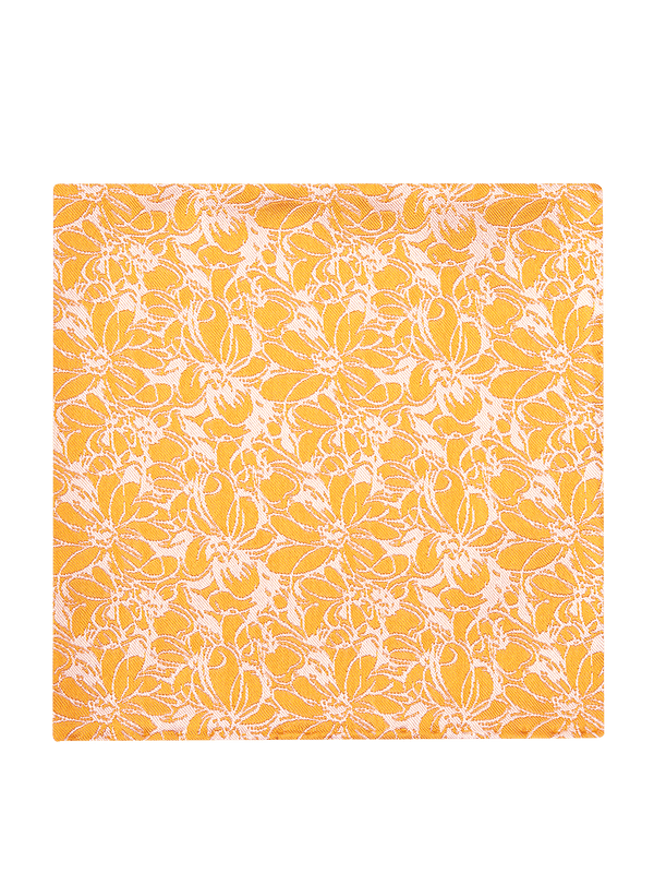 Sketch Floral Pocket Square Yellow