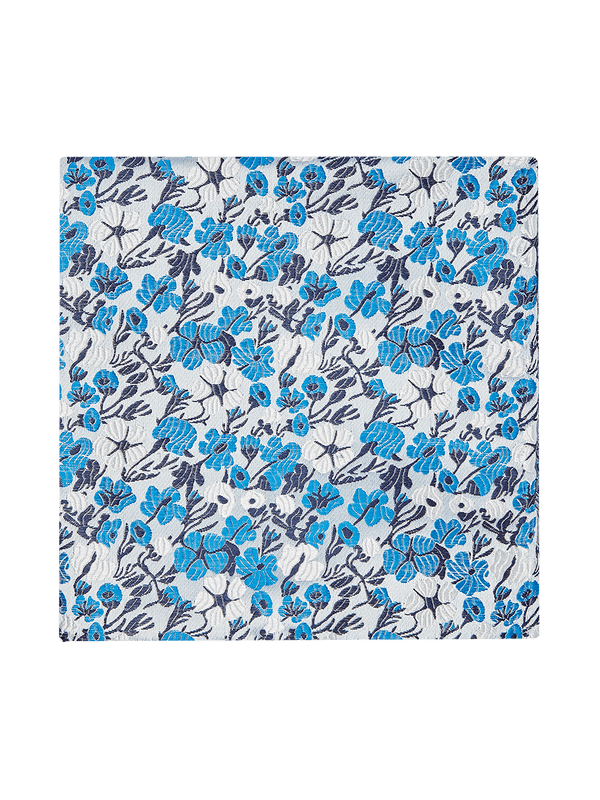 Vespa Floral Pocket Square Blue