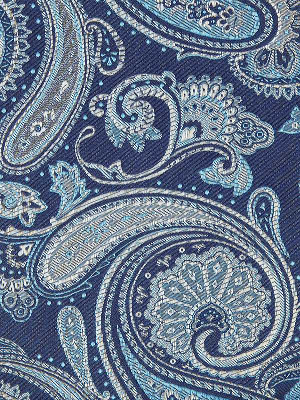 Elegant Paisley Pocket Square Navy