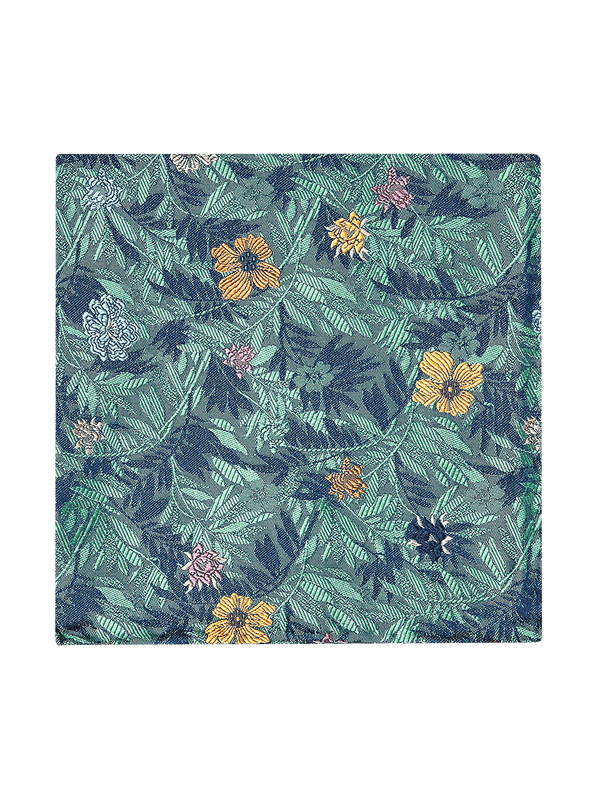 Jungle Flower Pocket Square Green