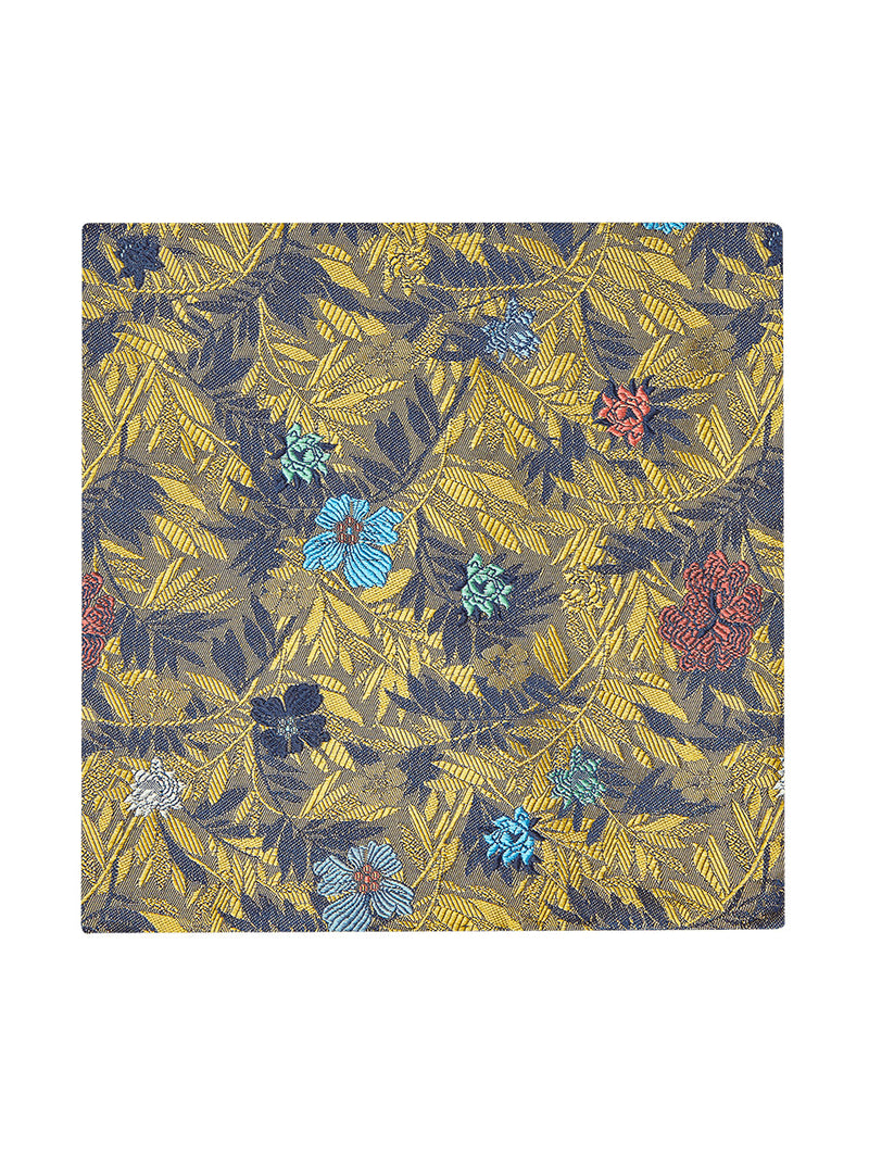 Jungle Flower Pocket Square Yellow