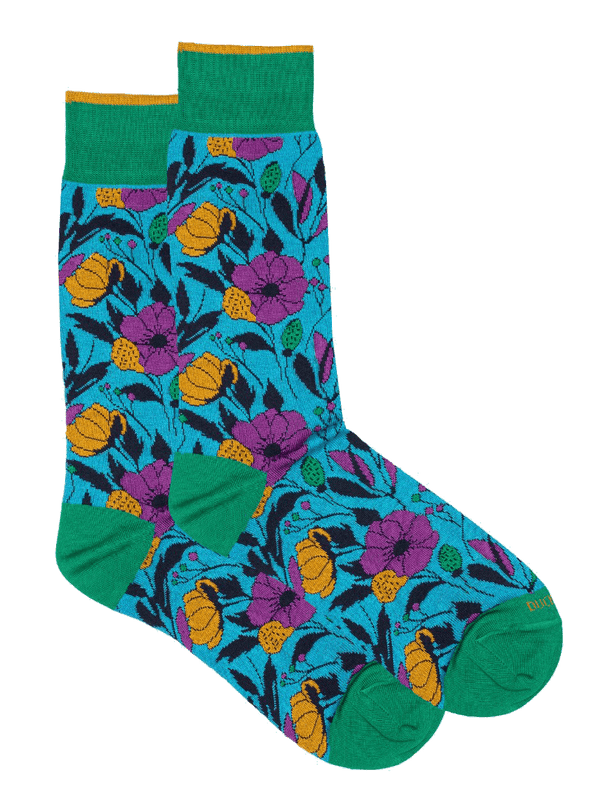 Solst Floral Sock Blue