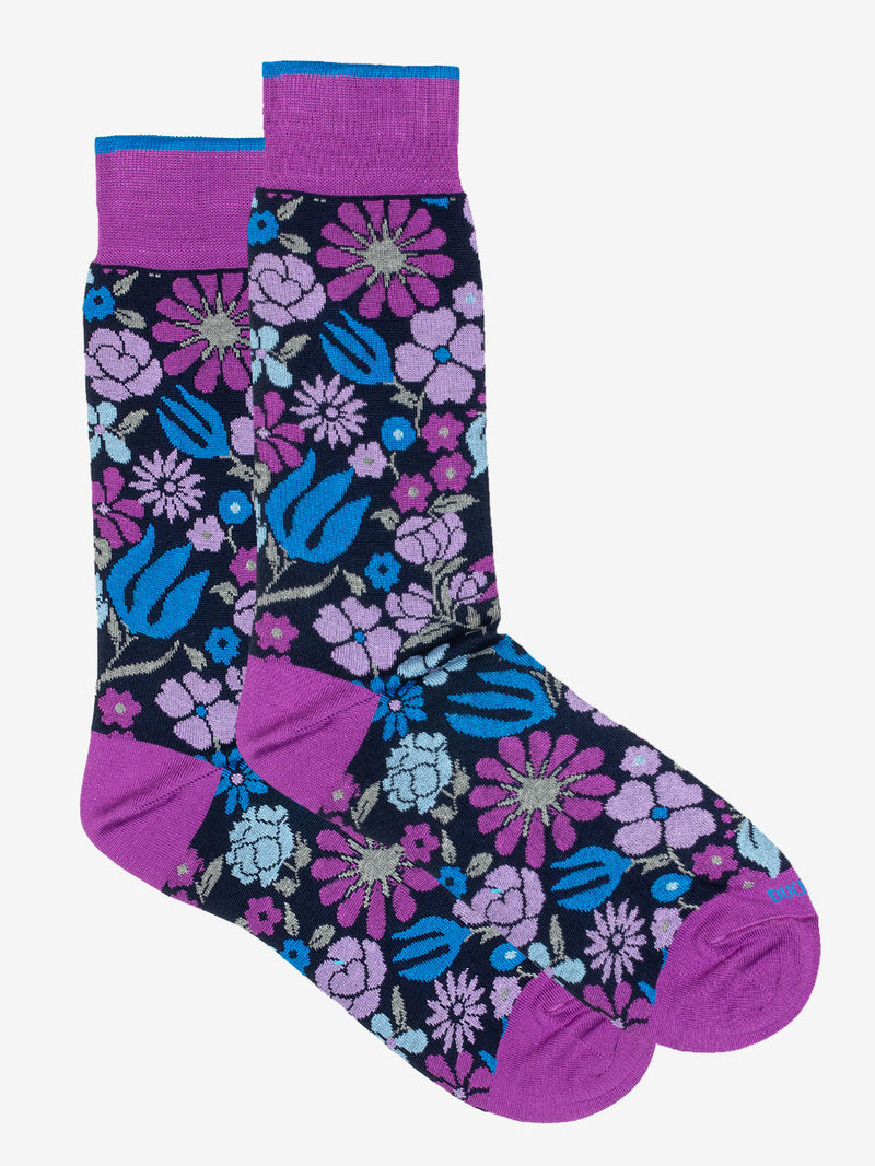 Botanical Floral Sock Purple