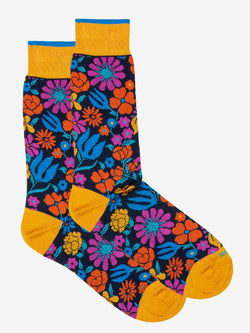 Botanical Floral Sock Yellow