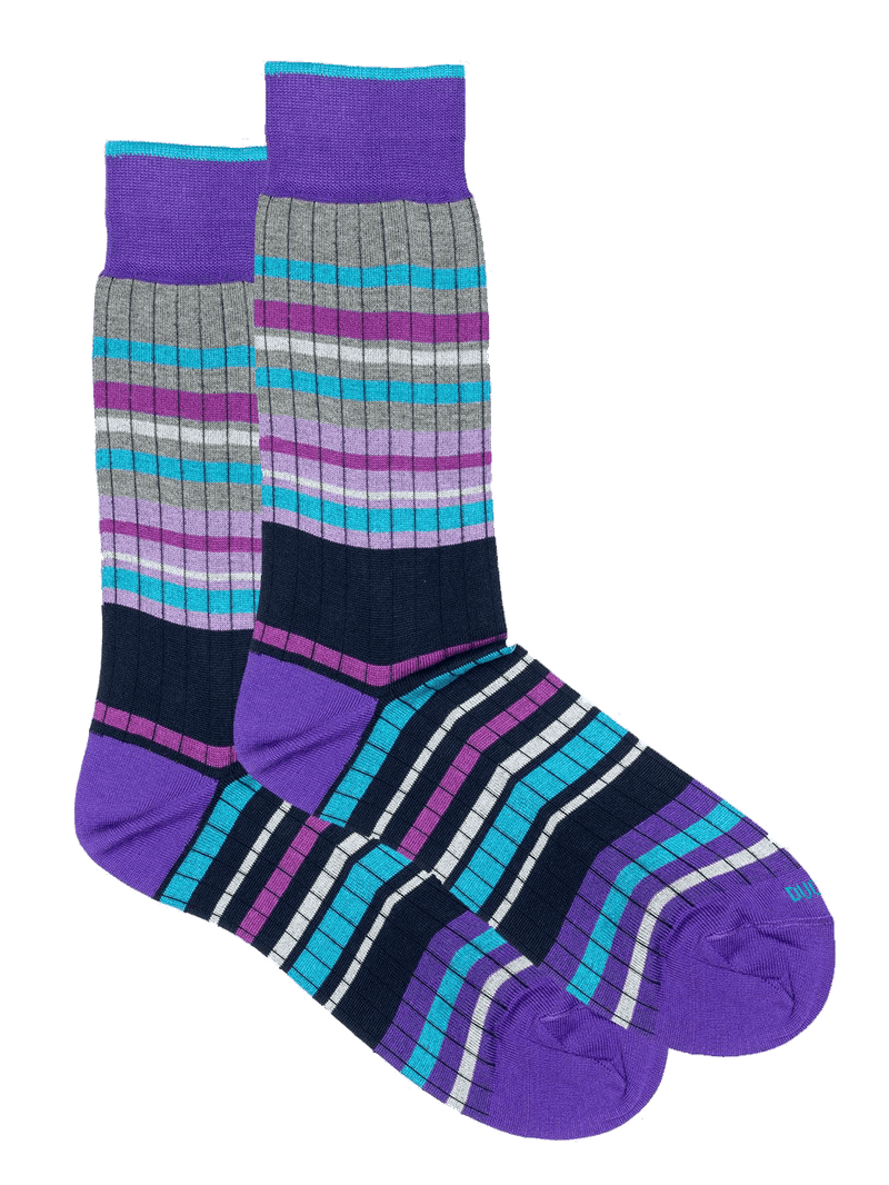Block Stripe Sock Purple