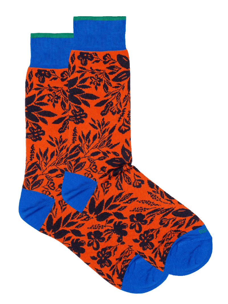 Mollie Floral Two Colour Sock Orange