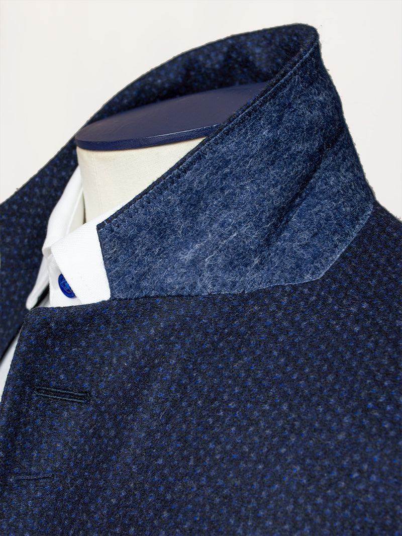 Notch Lapel Dot Flannel Jacket Blue