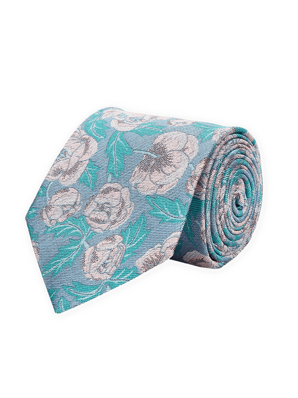 Lush Floral Tie Turquoise.