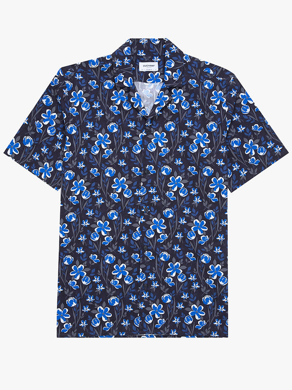Boris Floral Short Sleeved Print Shirt Blue