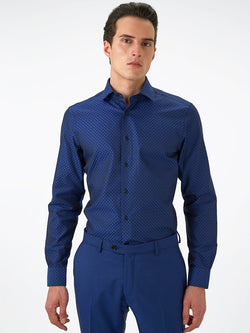 Mens-Jacquard-Shirt-Blue