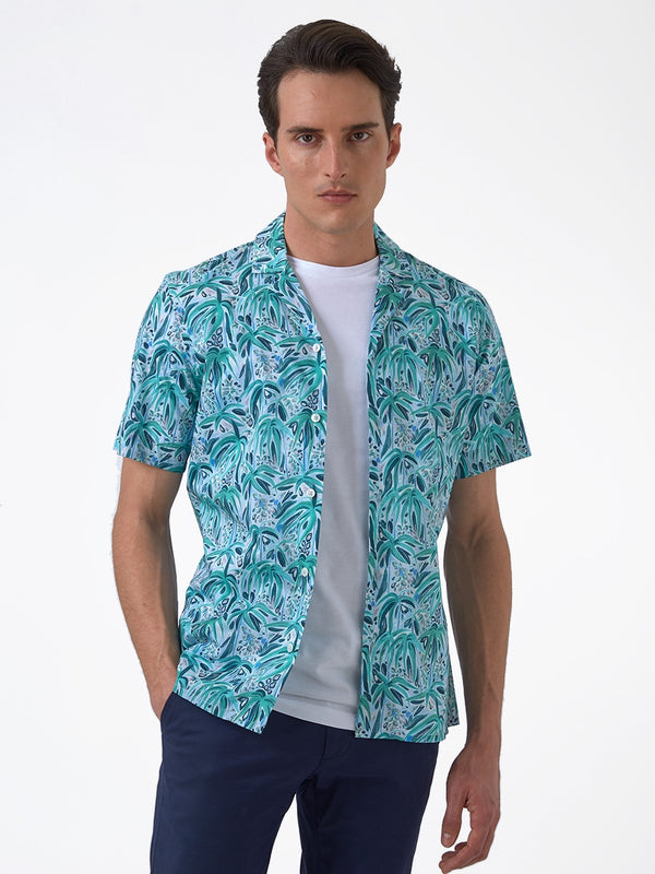 Tropical Print Shirt Green