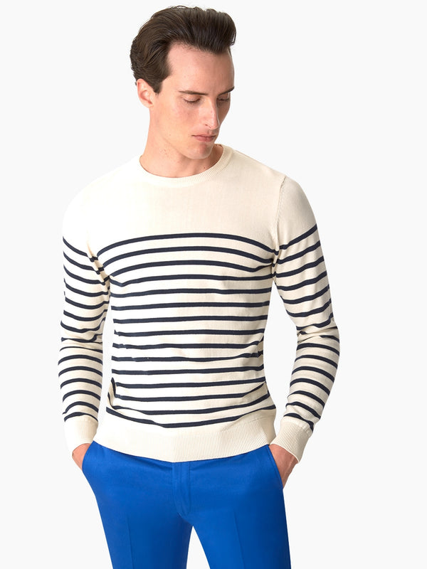 Mens-Stripe-Jumper-White