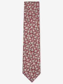 Textured-Floral-Tie-Red