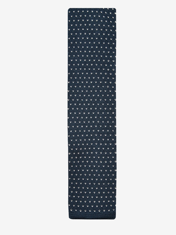 Dot-Knitted-Tie-Navy