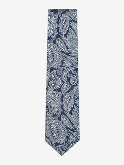 Drawn Paisley Tie Navy