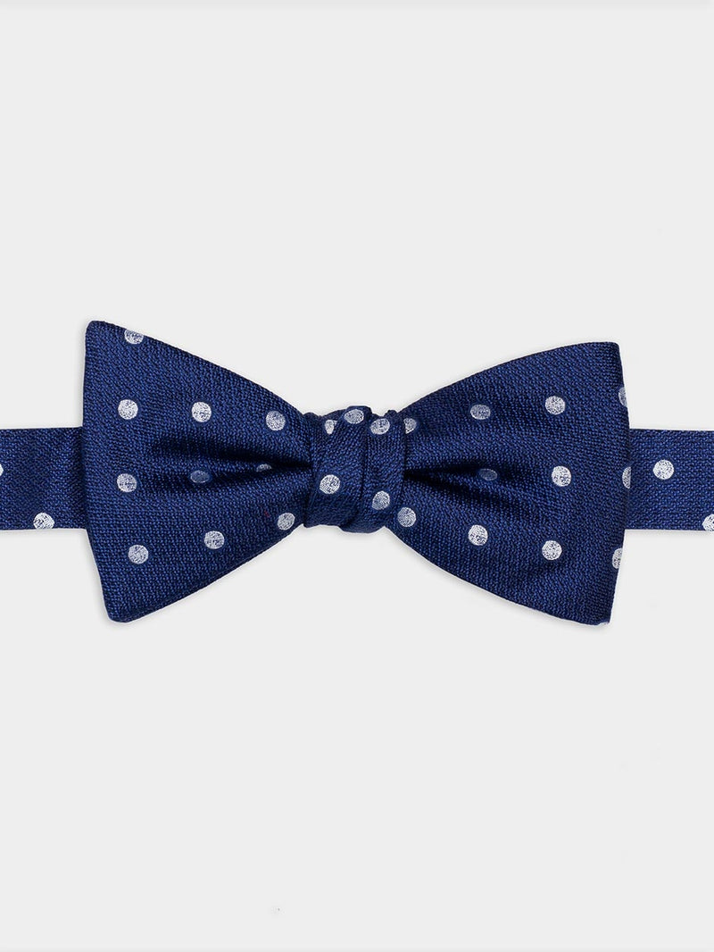 Textured Dot Ready Tied Bow Tie Navy
