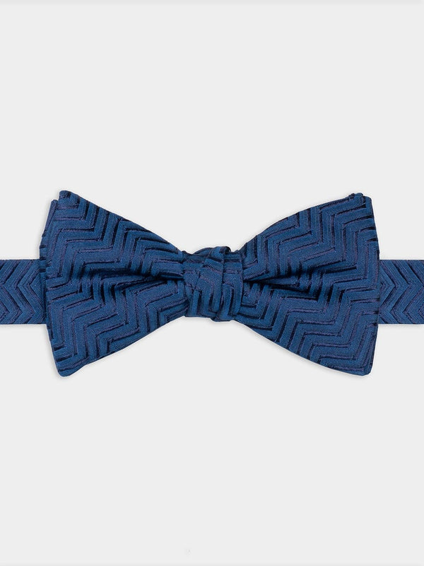 Textured-Zig-Zag-Ready-Tied-Bow-Tie-Blue
