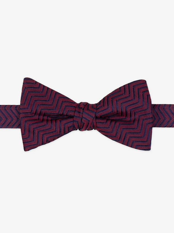 Textured Zig Zag Ready Tied Bow Tie Red