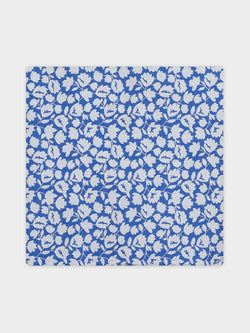 Two Colour Floral Pocket Square Blue