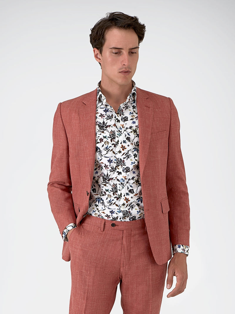 Notch Lapel Plain Textured Jacket Pink
