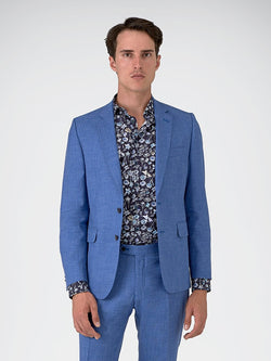 Notch Lapel Plain Textured Jacket Blue