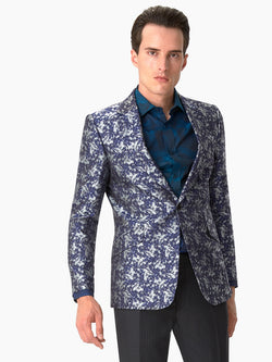 Notch Abstract Silk Jacket Blue