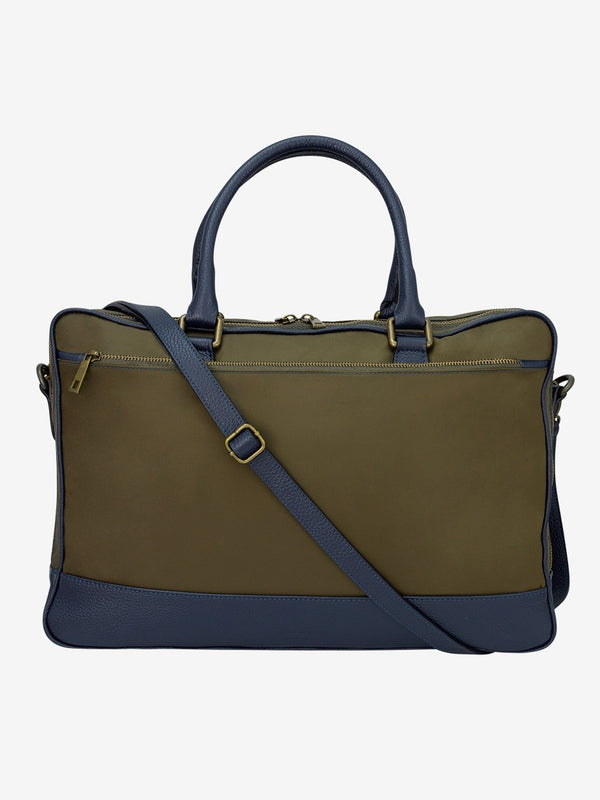 Leather Trimmed Nylon Briefcase Green