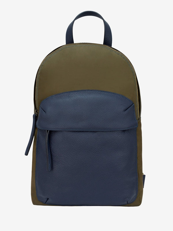 Leather Trimmed Nylon Backpack Green