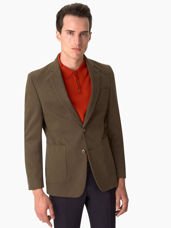 Notch Lapel Cotton Twill Jacket Green