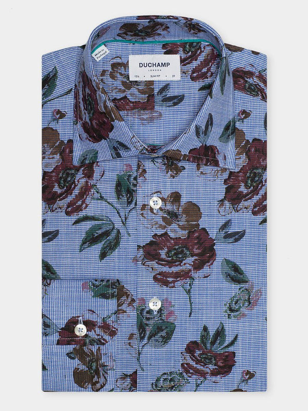 Mens-Floral-Print-Shirt-Blue