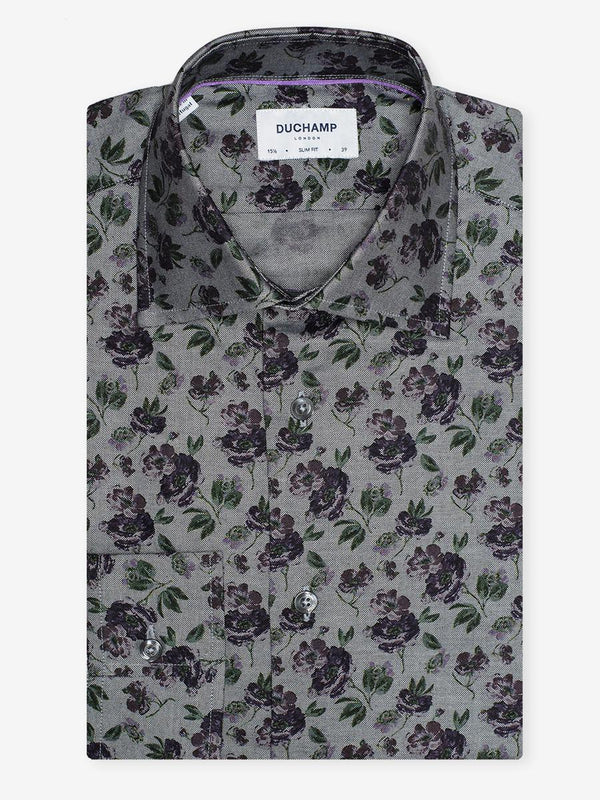 Rose Floral Print Shirt Grey