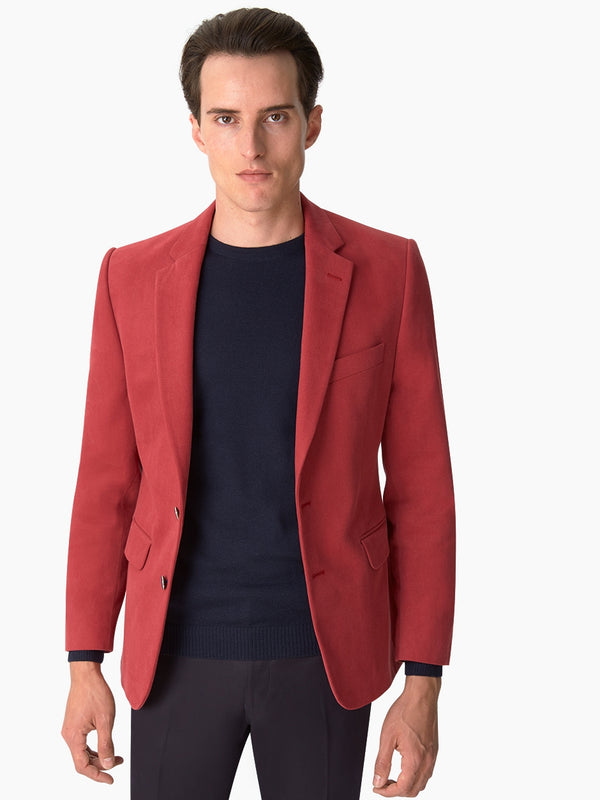 Notch Lapel Cotton Twill Jacket Red