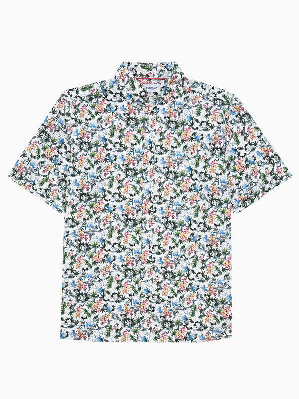 Summer Floral Short Sleeved Print Shirt Pink
